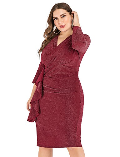 cheap Plus Size Dresses-Women's Sheath Dress Knee Length Dress - Long Sleeve Solid Color Ruffle Ruched Split Fall Casual Daily 2020 Black Wine XL XXL 3XL 4XL 5XL