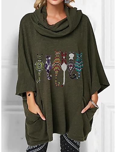 cheap Women's Blouses & Shirts-Women's Tunic Animal Print Cowl Neck Tops Loose Basic Basic Top Wine Army Green