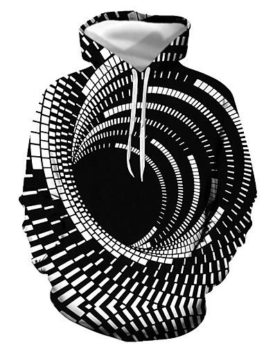 billige Herreklær-Herre Genser med hette for genser Grafisk Daglig Ut på byen 3D-utskrift Grunnleggende Fritid Gensere Gensere Svart Lilla Rød