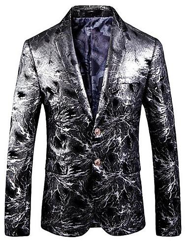 cheap Party Time-Men's Notch lapel collar Blazer Plus Size Silver M / L / XL / Slim