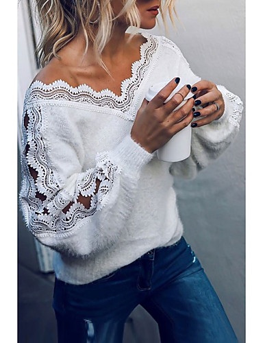 povoljno Ženski džemperi-Žene Osnovni Ispleten Čipka Trim Jedna barva Pullover Akril vlakna Dugih rukava Duks džemper V izrez Jesen Zima Obala Crn Sive boje