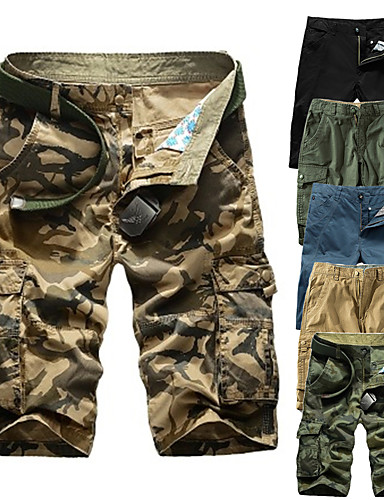 """cheap Hiking Trousers & Shorts-Men's Hiking Shorts Hiking Cargo Shorts Solid Color Summer Outdoor 10"""" Standard Fit Breathable Quick Dry Sweat-wicking Comfortable Shorts Bottoms Jungle camouflage Black Blue Army Green Camouflage"""