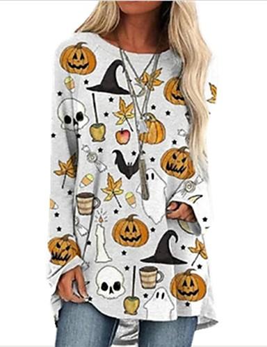billige Topper til damer-Dame Halloween T-skjorte Polkadotter Hodeskaller Langermet Rund hals Topper Løstsittende Bomull Grunnleggende Halloween Grunnleggende topp Hvit