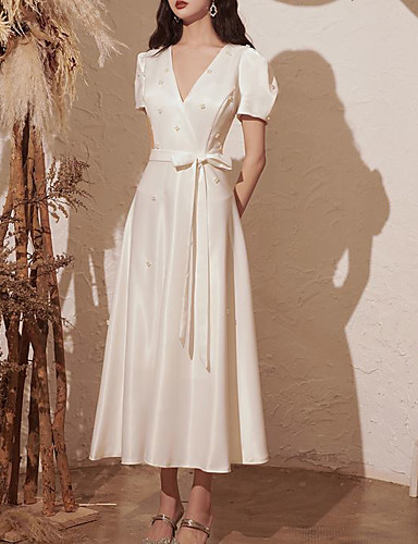 cheap Wedding Dresses-Ball Gown A-Line Wedding Dresses V Neck Ankle Length Satin Short Sleeve Vintage Little White Dress Elegant with Sashes / Ribbons Bow(s) Pearls 2020
