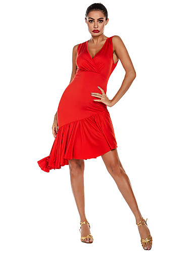 cheap Latin Dancewear-Latin Dance Dress Ruffles Solid Women's Training Performance Sleeveless Natural Polyester
