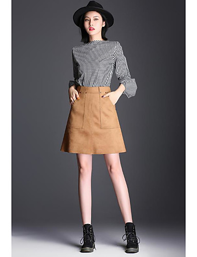 cheap Women's Skirts-Women's Casual / Daily Basic Above Knee Skirts Solid Colored