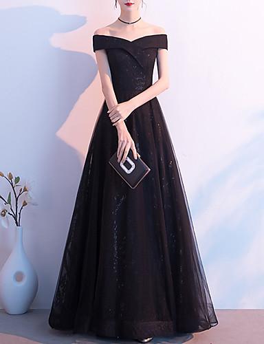 cheap Special Occasion Dresses-A-Line Elegant Glittering Wedding Guest Formal Evening Dress Off Shoulder Short Sleeve Floor Length Tulle with Sleek 2020