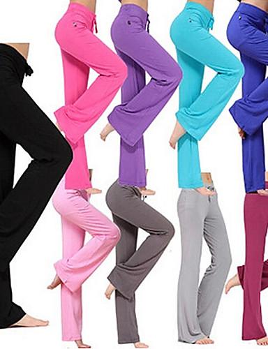 cheap Yoga Clothing-Women's Yoga Pants Flare Leg Drawstring Pants / Trousers Breathable Moisture Wicking White Black Purple Modal Zumba Running Pilates Plus Size Sports Activewear Stretchy Loose / Burgundy / Royal Blue