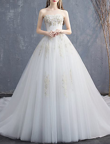 baratos Vestidos de Casamento-De Baile Vestidos de noiva Sem Alças Cauda Capela Renda Tule Sem Manga Formal Elegant com Miçangas Apliques 2020