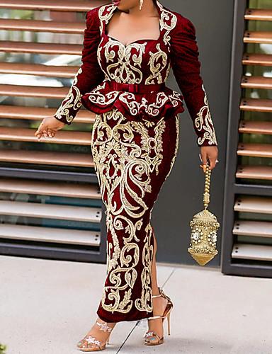 povoljno Vintage kraljica-Žene Haljina plašt Maks haljina - Dugih rukava Print Nabori S izrezom Proljeće Četvrtasti izrez Vintage Party Puff rukav 2020 Crn Plava Lila-roza M L XL XXL XXXL