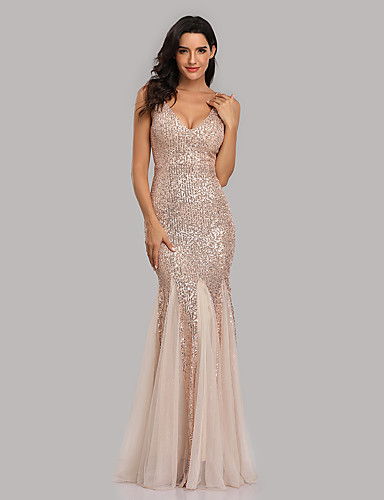 cheap Special Occasion Dresses-Mermaid / Trumpet Sexy Sparkle Party Wear Formal Evening Dress V Neck Sleeveless Floor Length Sequined with Sequin 2020
