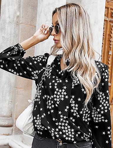 billige Topper til damer-Dame Bluse Skjorte Stjerne Langermet Blondér Trykt mønster V-hals Topper Grunnleggende Grunnleggende topp Svart