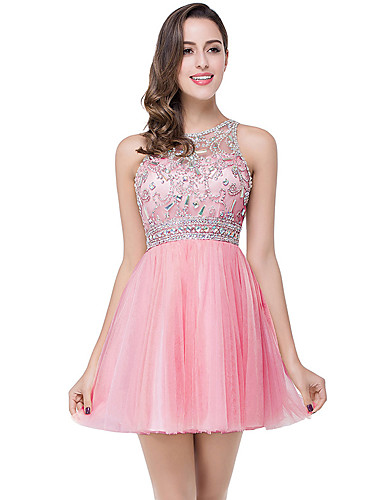 cheap Homecoming Dresses-A-Line Elegant Luxurious Party Wear Cocktail Party Dress Jewel Neck Sleeveless Short / Mini Tulle with Pleats Crystals 2020