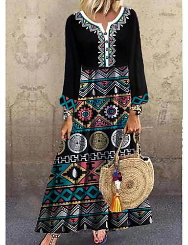 povoljno Pretprodaja-Žene Shift haljina Maks haljina - 3/4 rukava Print Dugme Print Proljeće Jesen Ležerne prilike Dnevno Širok kroj 2020 Duga M L XL XXL XXXL