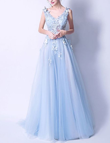 cheap Bridesmaid Dresses-A-Line V Neck Floor Length Lace / Organza Bridesmaid Dress with Beading / Appliques