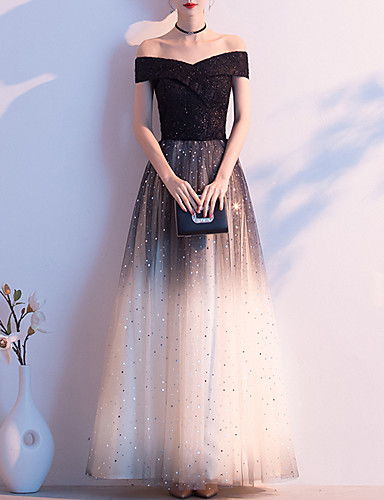 cheap Special Occasion Dresses-A-Line Minimalist Vintage Wedding Guest Prom Dress Off Shoulder Short Sleeve Floor Length Tulle with Sequin 2020