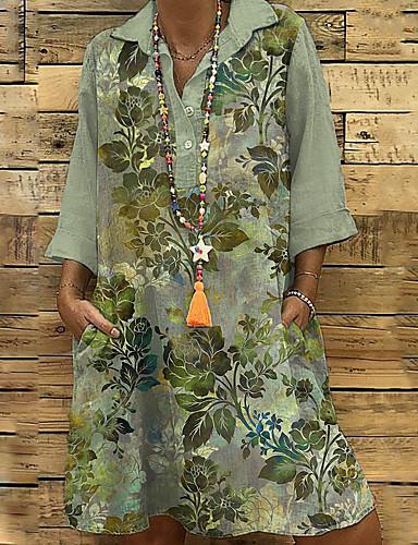 povoljno Pretprodaja-Žene Shift haljina Haljina do koljena - 3/4 rukava Cvjetni print Print Proljeće Jesen Kragna košulje Ležerne prilike Dnevno Širok kroj 2020 Djetelina M L XL XXL XXXL