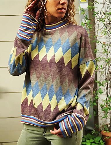 billige Topper til damer-Dame Bluse Skjorte Fargeblokk Langermet Trykt mønster Rund hals Topper Grunnleggende Grunnleggende topp Blå Vin Oransje