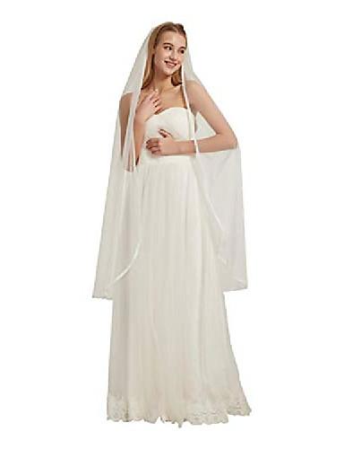 billiga Brudslöjor-tyll bröllop slöja spets trim slöja 1 nivåer ren brud slöja med kam b019& # 40; elfenben, 36& # 39;& # 39;& # 41;