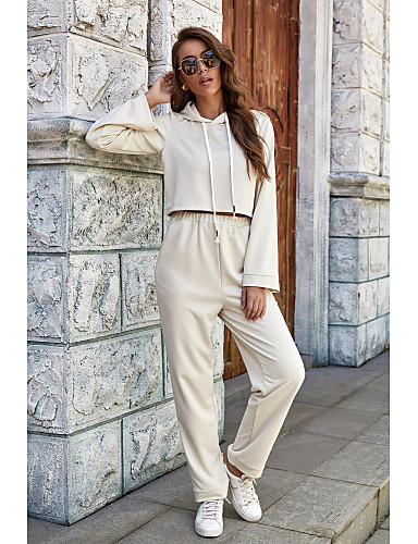 baratos Para Mulheres Jovens-Mulheres Conjunto de duas peças Básico Blusa Camisa Social Blusas Calça Conjunto Côr Sólida