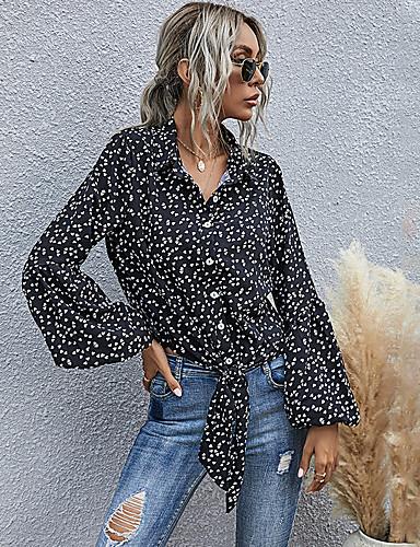 billige Topper til damer-Dame Bluse Skjorte Hjerte Langermet Blondér Trykt mønster Skjortekrage Topper Grunnleggende Grunnleggende topp Svart