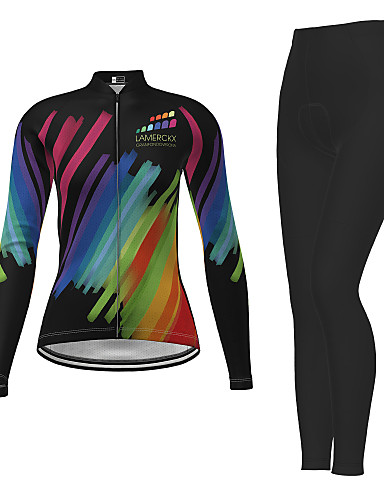 cheap Cycling Jersey & Shorts / Pants Sets-21Grams Women's Long Sleeve Cycling Jersey with Tights Winter Polyester Black Novelty Bike Jersey Tights Clothing Suit Breathable Quick Dry Moisture Wicking Back Pocket Sports Novelty Mountain Bike
