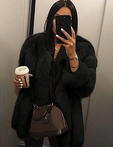 billige Overtøj til damer-Dame V-hals Faux Fur Coat Normal Ensfarvet Daglig Hvid Sort Lyserød S M L