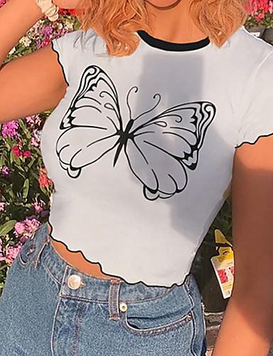 billige Topper til damer-Dame Crop T-skjorte Sommerfugl Rund hals Topper Grunnleggende Grunnleggende topp Hvit / Avskåret