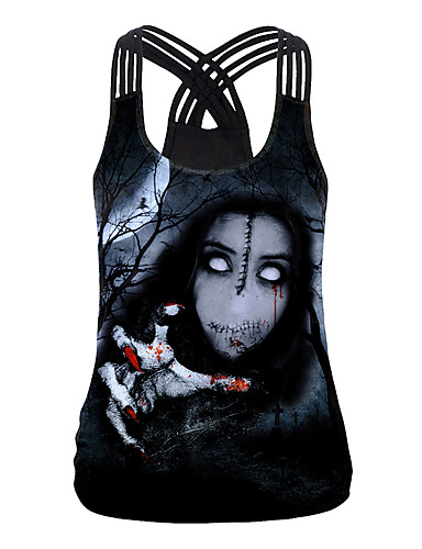 זול חולצות לנשים-בגדי ריקוד נשים Halloween עליונית טנק שור צווארון U צמרות חג ליל כל הקדושים בסיס עליון שחור