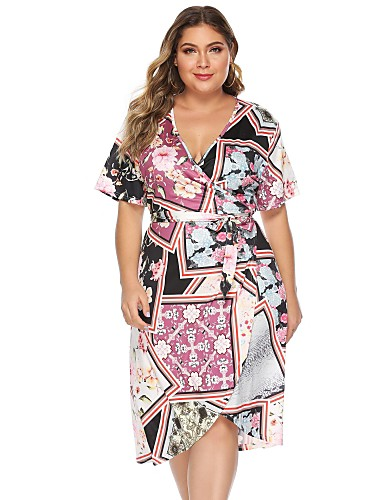 cheap Plus Size Dresses-Women's Shift Dress Knee Length Dress - Short Sleeve Print Print Summer V Neck Vintage Daily Weekend Slim 2020 Rainbow L XL XXL XXXL XXXXL