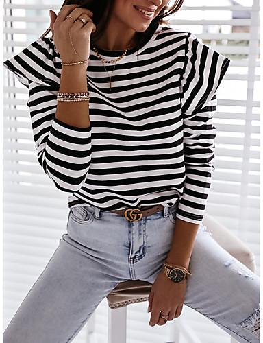 cheap Women's Blouses & Shirts-Women's Blouse Striped Long Sleeve Ruffle Print Round Neck Tops Loose Cotton Basic Basic Top Black Red