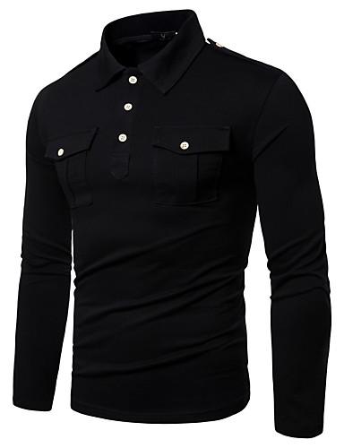 billige Henley skjorter-Herre Polo Helfarge Topper Klassisk & Tidløs Militærgrønn Svart Mørkegrå / Høst