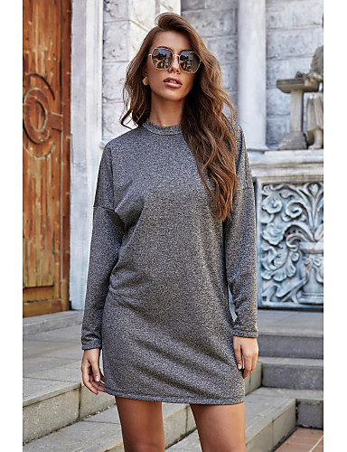 povoljno Ženske haljine-Žene Haljina A-kroja Mini haljina - Dugih rukava Jedna barva Jesen Ležerne prilike Dnevno Pamuk 2020 Sive boje S M L XL