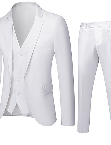 cheap Suit-Men's Single Breasted Notch lapel collar Suits Solid Colored White / Black / Blue XXL / 3XL / 4XL