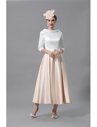 billige Bryllupsbutikken-A-linje Kjole til brudens mor Elegant Besmykket Telang Charmeuse Halvlange ermer med Plissert 2020