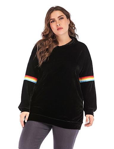 billige Gensere og cardigans-Dame Store størrelser Daglig Genser med hette for genser Ensfarget Fritid Gensere Gensere Svart