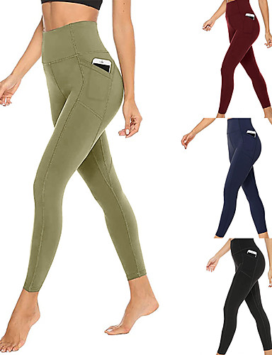 cheap Compression Clothing-Women's High Waist Running Tights Leggings Compression Pants Athletic Bottoms with Phone Pocket Winter Yoga Fitness Gym Workout Running Jogging Tummy Control Butt Lift Breathable Sport Black Burgundy