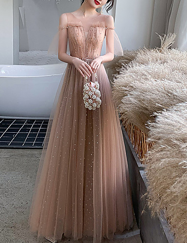cheap Special Occasion Dresses-A-Line Elegant Glittering Wedding Guest Prom Dress Illusion Neck Short Sleeve Floor Length Tulle with Pleats Sequin 2020