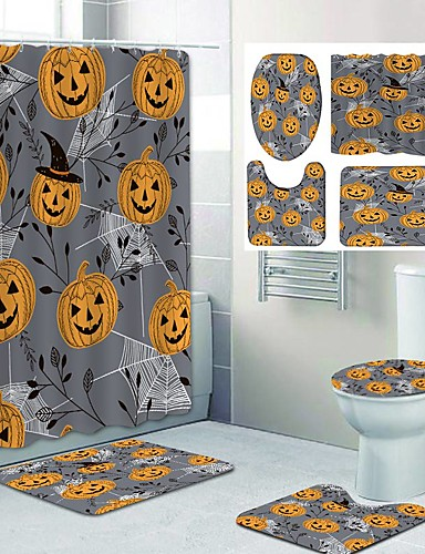 cheap Halloween Decoration-Fresh Seaside Pattern PrintingBathroom Shower Curtain Leisure Toilet Four-Piece Design