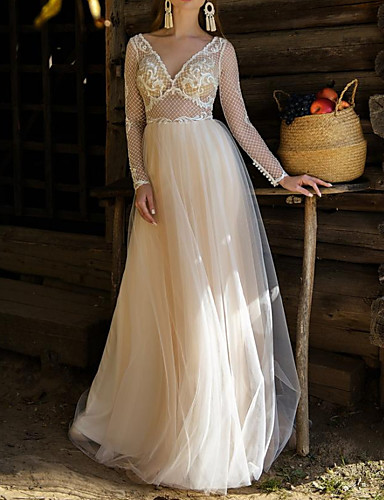 cheap Wedding Dresses-A-Line Wedding Dresses V Neck Sweep / Brush Train Lace Tulle Long Sleeve Beach Sexy See-Through with Appliques 2020