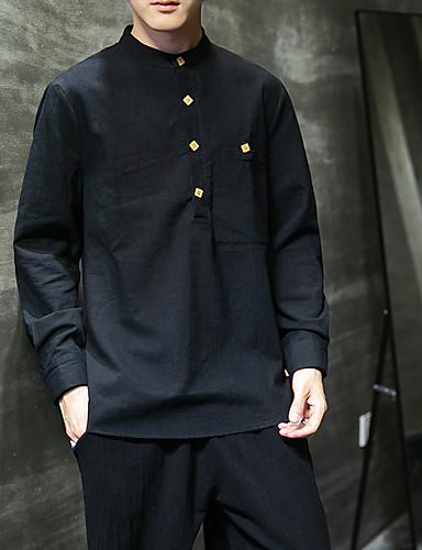 billige Henley skjorter-Herre Skjorte Helfarge Klassisk Topper Aprikos Kremhvite Svart / Høst