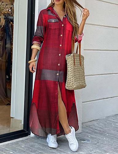 preiswerte Bedruckte Kleider-Damen Hemdkleid Maxikleid - Langarm Druck Patchwork Frühling Herbst Hemdkragen Sexy Ausgehen Baumwolle Lose 2020 Blau Rote Gelb Fuchsia S M L XL XXL XXXL