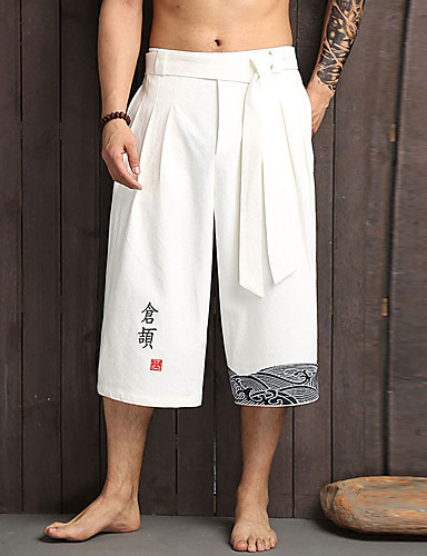 cheap Men's Bottoms-Men's Chinoiserie Daily Home Wide Leg Pants Patterned Black White Embroidered Drawstring Breathable White Black Navy Blue L XL XXL