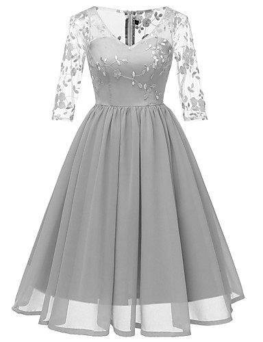 cheap Cocktail Dresses-A-Line Elegant Minimalist Party Wear Cocktail Party Dress V Neck 3/4 Length Sleeve Short / Mini Lace with Pleats 2020