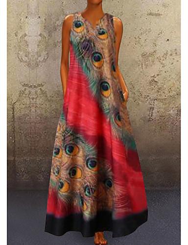 cheap Print Dresses-Women's A-Line Dress Maxi long Dress - Sleeveless Peacock Feathers Print Summer V Neck Plus Size Casual Holiday Vacation 2020 Red Navy Blue Light Blue S M L XL XXL XXXL XXXXL XXXXXL