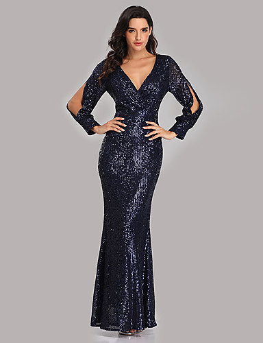 cheap Special Occasion Dresses-Mermaid / Trumpet Sexy Sparkle Party Wear Formal Evening Dress V Neck Long Sleeve Floor Length Sequined with Sequin 2020