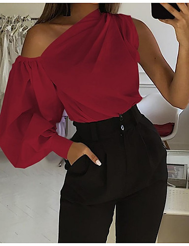 cheap Women's Blouses & Shirts-Women's Blouse Shirt Solid Colored Long Sleeve Patchwork Off Shoulder Tops Sexy Basic Top White Black Red