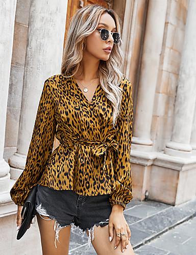 billige Topper til damer-Dame Bluse Skjorte Leopard Langermet Blondér Trykt mønster V-hals Topper Grunnleggende Grunnleggende topp Brun