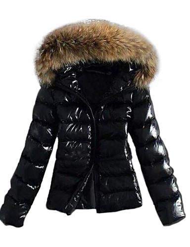 economico 2020 F/W-Per donna Autunno Inverno Piumino Parka Sportivo Essenziale Colletto di pelliccia Tinta unita Nylon Manica lunga Con cappuccio Nero XS / S / M