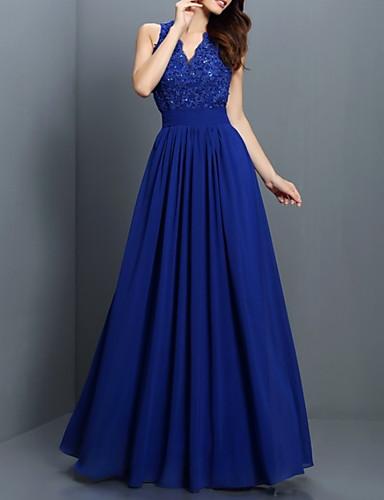 cheap Bridesmaid Dresses-A-Line V Neck Floor Length Chiffon / Lace Bridesmaid Dress with Pleats